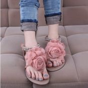$12.49 Lovely Round Peep Toe Low Heel Pink Leather Ankle Strap Sandals