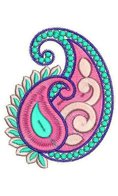 Flower Embroidery Designs, Hand Embroidery Patterns, Embroidery Applique, Beaded Embroidery, Machine Embroidery Designs, Embroidery Stitches, Paisley Drawing, Paisley Art, Paisley Pattern