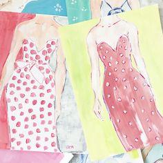 Original Art - Original Painting - Fine Art Painting  - Fashion Painting   - Polka Dot Dress - Glamour Painting - Mixed Media - Oil Pastels by bbriggsillustration on Etsy