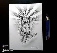 tattoo sketch, religious tattoo, angel drawing, god bird, religious design, pencil art, tattoo art