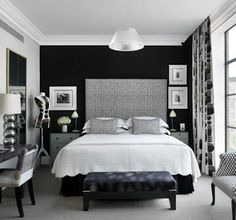 Black Accent Wall Bedroom Black White Rooms, Black And White Interior,  Black Walls,
