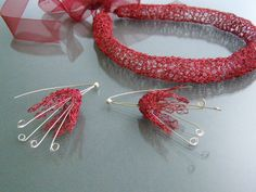 EARRINGS- RED BELLS - beautiful, delicate, ethereal, hand-made with red and silver wire,straight from the designer !!!!! by EcoDyeing on Etsy