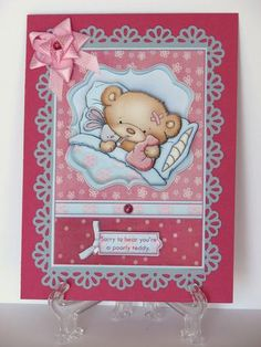 POORLY TEDDY Get Well Soon Topper Decoupage on Craftsuprint designed by Janet Briggs - made by Carolyn Norris