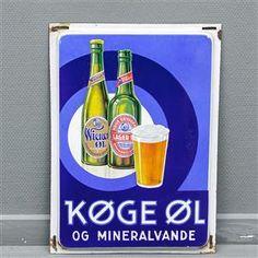 Vare: 3692238 Køge Øl og Mineralvande emaljeskilt Book Labels, Beer Quotes, Beer Poster, Old Pub, Beer Brewery, Retro Advertising, Typography Prints, Metal Signs, Coca Cola