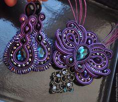 Купить Комплект Фиолет бронь - темно-фиолетовый, комплект, сутажные украшения, сутаж, фиолетовый комплект