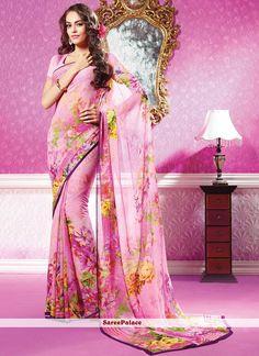 Pastel Pink Shaded Flower Printed Georgette Saree