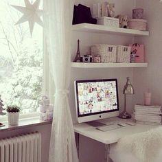 Cute bedroom! Ideas for my vanity/study area organization.