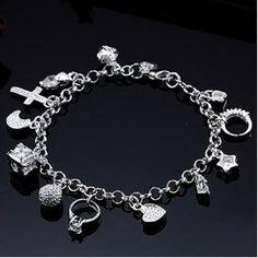 Lovely 925 Sterling Silver Heart Ring Multi Charm Crystal Women Bracelet With Gift Box