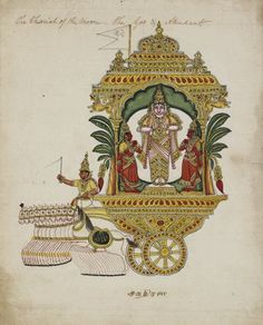 The deity Chandra (god of the moon) standing on a two wheeled chariot drawn by ten white horses. Flanked by Kaumudi and Tara. He holds a lotus in each hand. Company School, Tanjore style, Thanjavur, c.1814.