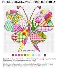 Patchwork cross stitch - butterfly