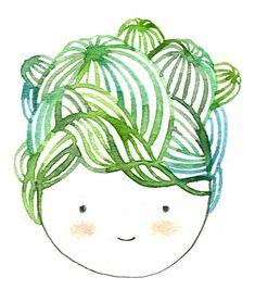 sur un mini bout de papier j'ai commencé à peindre des échinocactus... et si j'ajoute une frange et des joues roses, hop, ...