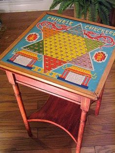 old game board + table = FABULOUS FUN!!!!