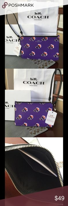 """NWT COACH SMALL WRISTLET NWT Small Wristlet in bramble Rose Print Canvas  Details Printed coated canvas Zip-top closure, fabric lining Strap with clip to form a wrist strap or attach to the inside of a bag Black leather strap Black fabric interior  7"""" (L) x 4 1/4"""" (H) Smoke/pet free home Coach Bags Clutches & Wristlets"""