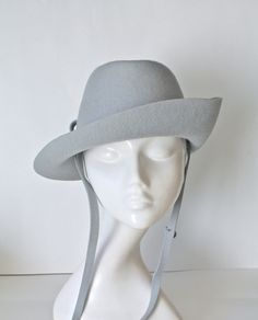 Vintage Vagabond Hat by Henry Pollak in Blue Gray Wool Felt.