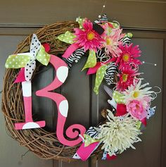 Totally Custom Initial Wreath with flowers ribbon wooden letter and vine wreath Great wedding gift.
