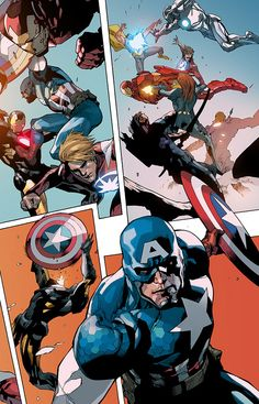 Captain America & Avengers by Leinil Yu Comic Book Artists, Comic Book Characters, Marvel Characters, Comic Character, Comic Books Art, Comic Art, Marvel Dc, Marvel Comic Universe, Marvel Heroes