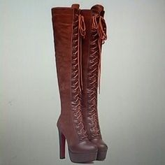 I just discovered this while shopping on Poshmark: Brand new Vintage lace up boots. Check it out!  Size: 6