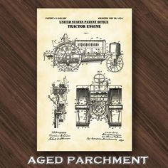 Tractor Engine Patent Print Tractor Poster Boys Room Art | Etsy Technical Artist, Poster Boys, Gifts For Farmers, Farm Art, Patent Drawing, Crisp Image, Patent Prints, Unique Image, Wall Game