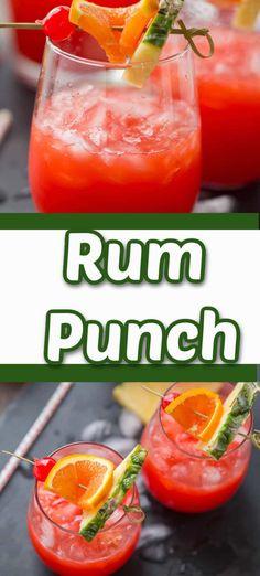 Caribbean Rum Punch Recipe, Easy Rum Punch Recipe, Jamaican Rum Punch Recipes, Punch Recipe For A Crowd, Cocktail Recipes For A Crowd, Rum Recipes, Easy Drink Recipes, Adult Punch Recipes, Alcoholic Punch Recipes