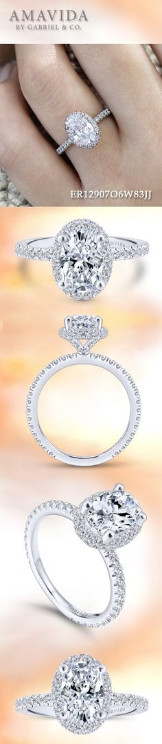 Gabriel & Co. - Voted #1 Most Preferred Fashion Jewelry and Bridal Brand. AMAVIDA - 18k White Gold Oval Double Halo Engagement Ring
