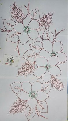 Trendy Ideas For Embroidery Patterns Ideas Fabrics Hand Embroidery Patterns, Ribbon Embroidery, Embroidery Art, Embroidery Stitches, Painting Patterns, Fabric Painting, Flower Sketches, Art Sketches, Flower Coloring Pages
