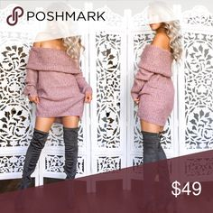 Monica Off Shoulder Sweater Dress Rose Perfect for the fall or winter! This sweater dress is so comfy and cozy. There is a seem seen at threshold era to keep the top flipped out and in place. Perfectly warm. Match with thigh high boots this season!! Hapa Clothing Boutique  Sweaters