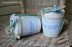 ice cream tubs and great recipe for coconut ice cream