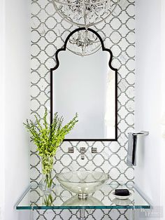 half Bathroom Decor Colorful fabrics, updated fixtures, and storage niches to help your tiny bath sparkle. These small bathroom ideas will help you add both style and function. Small Half Bathrooms, Small Half Baths, Mold In Bathroom, Small Bathroom Storage, Bathroom Grey, Bathroom Sinks, Bathroom Organization, Glass Vanity, Floating Vanity