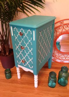 Chic Hand Painted Side Table by UniqueBoutiqueBySara on Etsy, $125.00