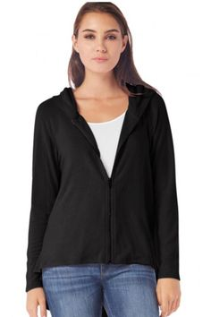 This Madison brushed jersey is long sleeved zip-up hoodie with side slits. This top is incredibly soft which is why it's one of Oprah's favorites! Made in the USA!  Model is 5'9 and is wearing a size small.  Madison Brushed Jersey by Michael Stars. Clothing - Tops - Long Sleeve Iowa