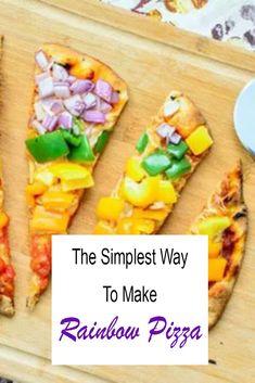 The Simplest Way To Make Rainbow Pizza Rainbow Pizza, Naan Flatbread, Preschool Cooking, Veggie Pizza, Taste The Rainbow, Hawaiian Pizza, Pizza Recipes, Family Meals, Good Food