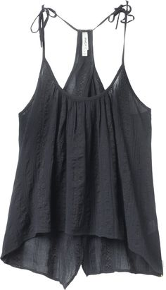 Between Lines Tank Top: This is a over sleeveless top with an overdye that has a rounded neckline and self spaghetti straps that tie at the shoulders. The top has a back detail with fabric that overlays and then opens up to show off the lower back, a slight high-low hemline, and a RVCA flag label at the wearers left side seam XS $36.00