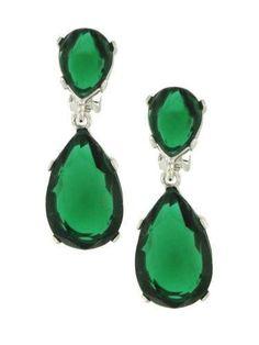 Kenneth Jay Lane EMERALD Swarovski Crystal Tear Drop Pierced Earrings. $110.00, via Etsy.