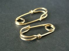 solid 14k gold safety pin earrings - from Mu-Yin Jewelry
