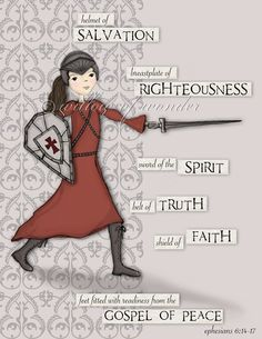 Warrior Girl  Full Armor of God scripture print  by willowofwonder, $20.00