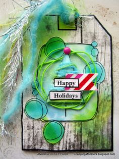 Created by Andrea for the Simon Says Stamp Monday challenge (Use A Stamp) Christmas tag inspiration
