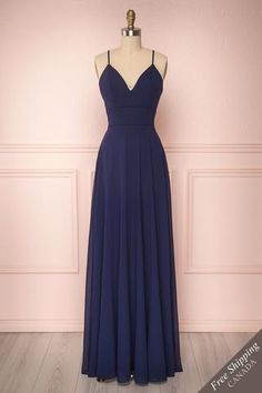 Kimari Minuit - This delightful dress will delicately decorate your silhouette thanks to its lace back and long flowy chiffon skirt. Navy Blue Prom Dresses, Pretty Prom Dresses, Homecoming Dresses, Cute Dresses, Beautiful Dresses, Bridesmaid Dresses, Long Navy Blue Dress, Long Dresses, Dress Long