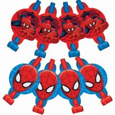 Pack of 8 Ultimate Spiderman party blowers. Great to put on the party table or pop one into each guests lolly bag for a take home surprise! Spiderman Party Supplies, Spiderman Invitation, 3rd Birthday, Birthday Parties, Paper Medallions, Party Blowers, Party Themes For Boys, Party Stores, Party Shop