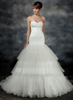 Wedding Dresses - $206.69 - Mermaid Sweetheart Court Train Satin Tulle Wedding Dress With Ruffle Lace (002017196) http://jjshouse.com/Mermaid-Sweetheart-Court-Train-Satin-Tulle-Wedding-Dress-With-Ruffle-Lace-002017196-g17196