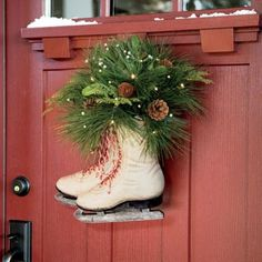 we need a new back door, and I love this style of door.  like the holiday decoration too!   Pre-Lit Decorated Ice Skates Door Wreath