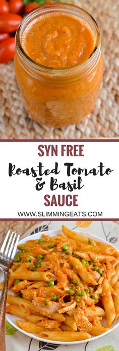 Slimming Eats Syn Free Roasted Tomato and Basil Sauce - gluten free dairy free v. - Slimming Eats Syn Free Roasted Tomato and Basil Sauce – gluten free dairy free vegetarian Slimmin - Slimming World Dinners, Slimming World Recipes Syn Free, Slimming Eats, Vegan Slimming World, Slimming World Pasta, Slimming World Lunch Ideas, Slimming Word, Veggie Recipes, Pasta Recipes