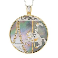 Shop for Michael Valitutti Palladium Silver Paris Round Mother-of-Pearl Eiffel Tower & Carousel Pendant - peacock and more for everyday discount prices at Overstock.com - Your Online Jewelry Store!