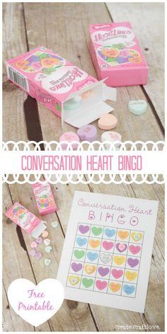 Fun Valentine's Day classroom activity - Conversation Heart Bingo!  #printables #kidsvalentines #valentinesday