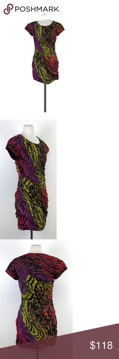 """Diane von Furstenberg- Animal Print Erosa Dress Sz 8 Bright colors & abstract animal print make this a perfect going out dress. Ruching & draping accentuates figure. Throw on a pair of strappy heels, and you're ready to dance the night away! Size 8 Retails for $398 Shell 100% silk Lining 100% cotton Cap sleeves Wide crew neck Concealed side zip Shoulder to hem 36"""" DvF is known for the wrap dress, bold patterns, and bright colors. You've seen her styles on the red carpet, catwalk, and even on…"""