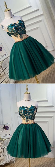 Prom Dresses Ball Gown, Deep green tulle sweetheart neckline short party dress with appliqués, beaded homecoming dresses, from the ever-popular high-low prom dresses, to fun and flirty short prom dresses and elegant long prom gowns. Cute Dresses, Short Dresses, Tulle, Make Your Own Dress, Popular Dresses, Short Prom, Costume, Homecoming Dresses, Prom Gowns