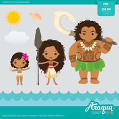 The Polynesian Princess Moana  Instant Download  PNG Files.