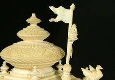 Ex. rare Ivory Kuruksherta Chariot, India, C.1800 Phoenix Bird, February 1, Ganesh, Krishna, Hand Carved, Artisan, Ivory, Carving, Indian