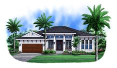 Front elevation of Florida Style home (ThePlanCollection: House Plan #175-1104)