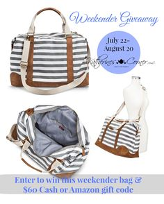 enter to win cash and a bag perfect for a weekend getaway. Katherines Corner has giveaways every month