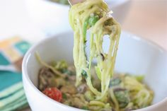 """Grain-Free """"Pasta"""" Made from Zucchini Noodles with a Creamy Pesto Sauce made with Cashew Cream. From Against All Grain #whole30 #paleo"""